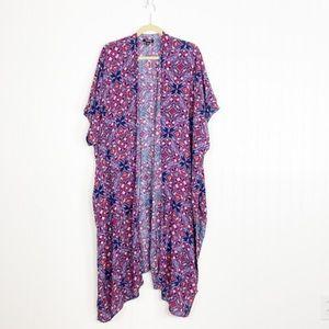 Torrid Plus Size Floral Babydoll Tunic Kimono Duster Open Front Boho Cardigan